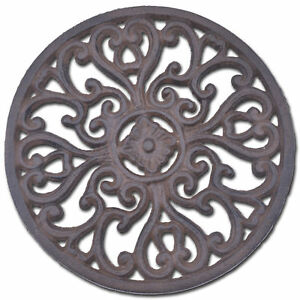 Decorative Cast Iron Trivet Ornate Heart Design Round Kitchen Hot Pad