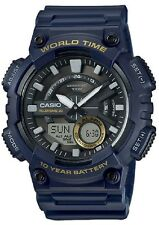 Casio AEQ-110W-2A Mens Blue 100M World Time Digital / Analog Sports Watch