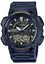 Casio AEQ-110W-2A Mens Blue 100M World Time Digital / Analog Sports Watch