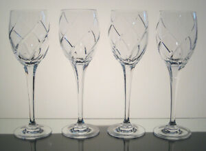 "OLYMPUS MIKASA CRYSTAL Imperial Goblets 9 7/8"", Cut Swirl SET of FOUR"