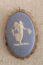Vintage WEDGWOOD Cameo Pendant Pin Brooch Jasperware Van Dell 12K GF