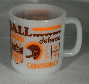 Rare 1970's Glasbake Milk Glass NFL Football Tackle Touchdown Coffee Mug Cup