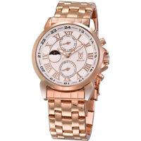 Mens Gold Watch Metal Bracelet Large Roman Dial Multifunction Reloj de Hombres