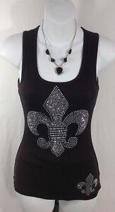 NEW Tank Top XS Sparkle Shirt Fleur De Lis black micro ribbed 100% cotton