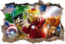 s115  Wandtattoo 120cm  Spiderman hulk ironman Lego STICKER 3D Wandaufkleber