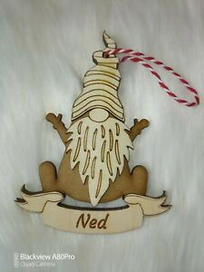 Personalised Gonk Scandinavian Gnome Christmas Bauble, Xmas Tree Decoration Elf