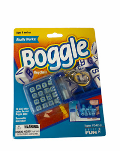 Boggle Keychain Really Works 16 Mini Letter Cubes 2000 #542-0 Removable Timer