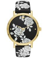 NWT Kate Spade New York Women's Metro Black Floral Leather Strap Watch KSW1498