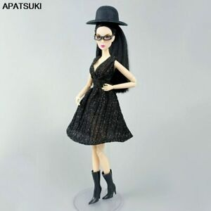 """Black Little Dress For 11.5"""" Doll Outfits Dresses Hat Boots Glasses Clothes 1/6"""