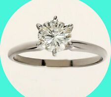ring 14K white gold round brill New w/tag .92Ct H diamond solitaire engagement