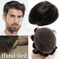Handtied French Lace Man's Toupee Wig Virgin Human Hair Systems Bleach Konts US