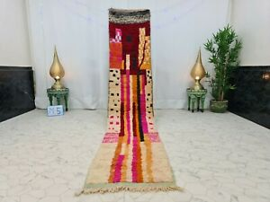 "Moroccan Boujaad Handmade Runner 2'2""x10'9"" Berber Abstract Red Pink Wool  Rug"