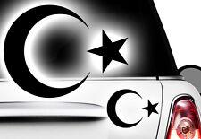 2x Aufkleber Türkei ISLAM Turkey türkiye Flag Aufkleber Sticker Halbmond Stern 1