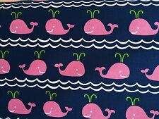 By 1/2 Yard Blend Fabrics True Blue Ana Davis ~ Rowing Pink ~ whales fish ocean