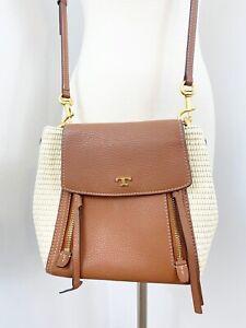 Tory Burch Half Moon Brown Leather & Straw Crossbody Handbag NO HAND STRAP