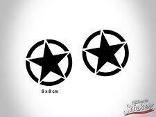 2 x US Army Stern Auto Aufkleber US Star Sticker Hotrod Rat USA Schwarz|Weiß