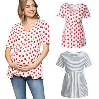 Women Maternity Pregnancy Short Sleeve Tops Tunic Stripe Dot T Shirt Blouse Tee