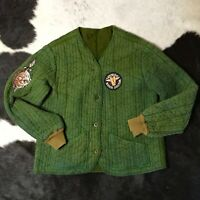 1960s Quilted Zombie Military Green Mens Olive Cotton Inside & Outside Fabric M
