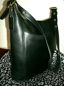 Coach Legacy Slim Duffel No 9060 Large Black Iconic Coach Leather Shoulder Bag!