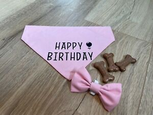 Handmade Pink cotton Dog Bandana with matching dog bow tie - Happy Birthday