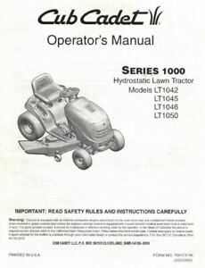 Cub Cadet LT1046 Engine Operator Parts Assembly Maintenance Manuals CD DISC PDF