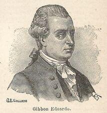 A7683 Edoardo Gibbon - Xilografia - Stampa Antica del 1927