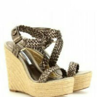 Brian Atwood Cool $625 Bronze Woven Leather Espadrille Sandals Wedges 40 9.5/10