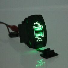 Car SUV Auto Boat 3.1A 12V&24V Grün LED Dual USB Ladegerät Backlit Rocker Switch