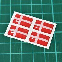 4x Denmark Danish Flag Domed Stickers - High Gloss Raised Gel Finish