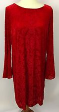 Eci New York Scarlet Red Velvet Brocade Tent Shift Dress Flare Sleeves Size L
