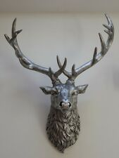 Silver Stag Deer Head Wall Mounted Figure Statue Gift