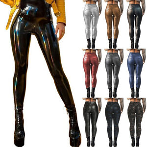 Damen Skinny PU-Leder Leggings Fitness Glanz Schlank Wet-Look Hose Optik Leggins