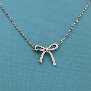 """Tiffany & Co. Bow Tie Pendant Necklace, Sterling Silver 925, 16"""" Chain"""