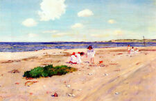 Oil painting William Merritt Chase - Shell Beach at Shinnecock children on beach