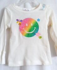 GIRLS 3T COLORFUL SPARKLE SMILING FACE THERMAL SHIRT NWT  ~ THE CHILDREN'S PLACE