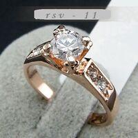 Edel Luxus Damen Ring RoseGold 750/18KRGP Kristall Verlobungsring Geschenkidee !
