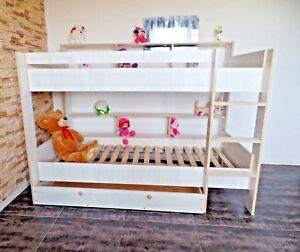 Hochbett Stockbett Etagenbett Doppelbett Kinderzimmer Rollrost Schublade 2Regale