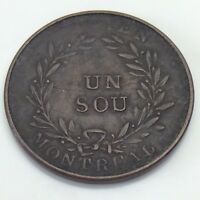 Lower Bas Canada Montreal Bouquet Un Sous with Two Shamrocks Colonial Token F320