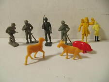 Vintage Hard Plastic Soldiers Pirate Polo Farm Animals Figures Lot of 9