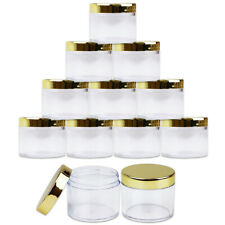 Beauticom 2oz/60g/60ml High Quality Acrylic Container Jars - Clear with Gold Lid