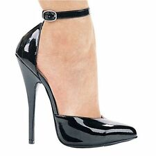 "6"" fetish high heel pump CLOSEOUT size 9 / 39 black classic sexy w ankle strap"