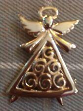 Christmas Angel Brooch Pin Yellow Gold Tone Jewelry