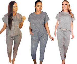 Ladies Short Sleeve Mono Check Boxy Suit Check Jogger Top Lounge Wear Tracksuit