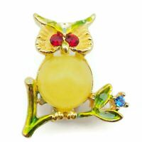 Gold Tone Yellow Cabochon Red And Blue Rhinestone Enamel Owl Brooch, Lapel Pin