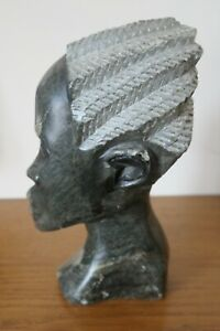 Hand Carved African Head 16cm tall - weighs 1.2 kg braided hair effect vintage