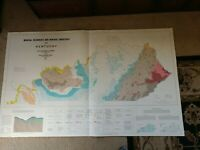 """Huge colored map of Kentucky Mineral resources (1962) 56""""x34"""""""