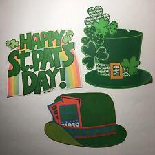 Vintage St Patrick's Day Die Cut Decorations Hat Rainbow Shamrock Lot of 3