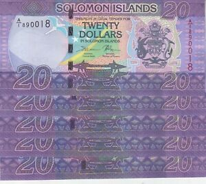 SOLOMON ISLANDS 20 DOLLARS 2017 P-34 SERIES A1 LOT X5 UNC NOTES