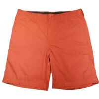 Columbia Mens Chino Shorts Orange Flat Front Pockets Lined 100% Cotton 38