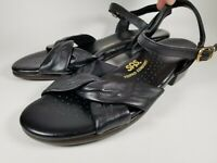 SAS Summer Heel Strap Sandals Black Leather US 9W WIDE Made In USA